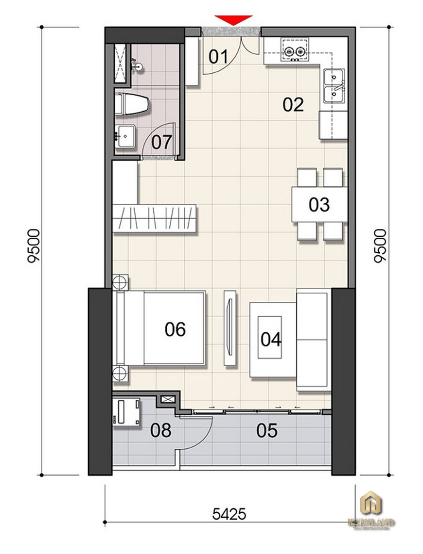 Thiết kế căn hộ 1PN Gem Riverside