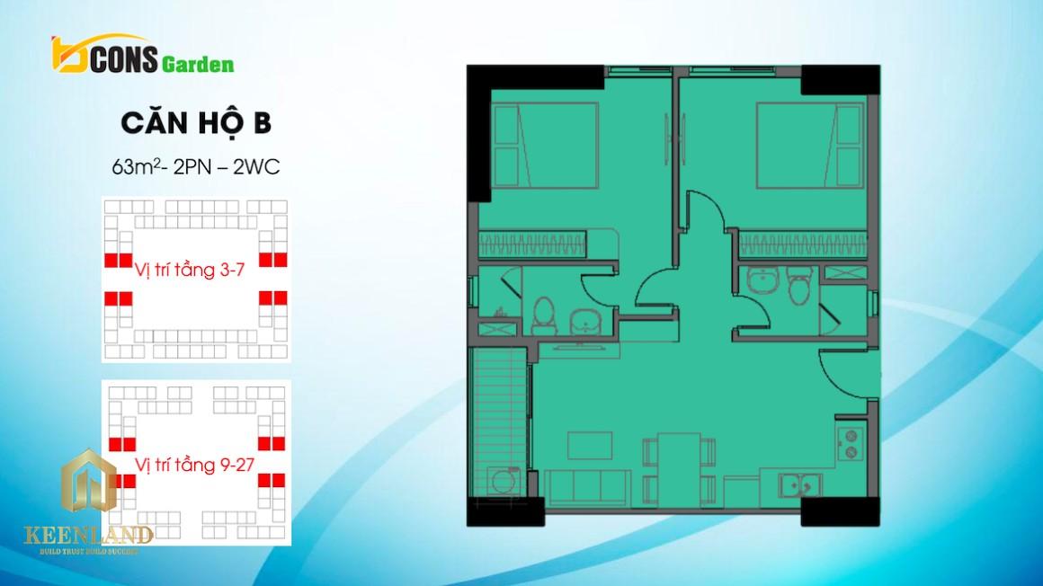 Thiết kế căn hộ B dự án Bcons Garden