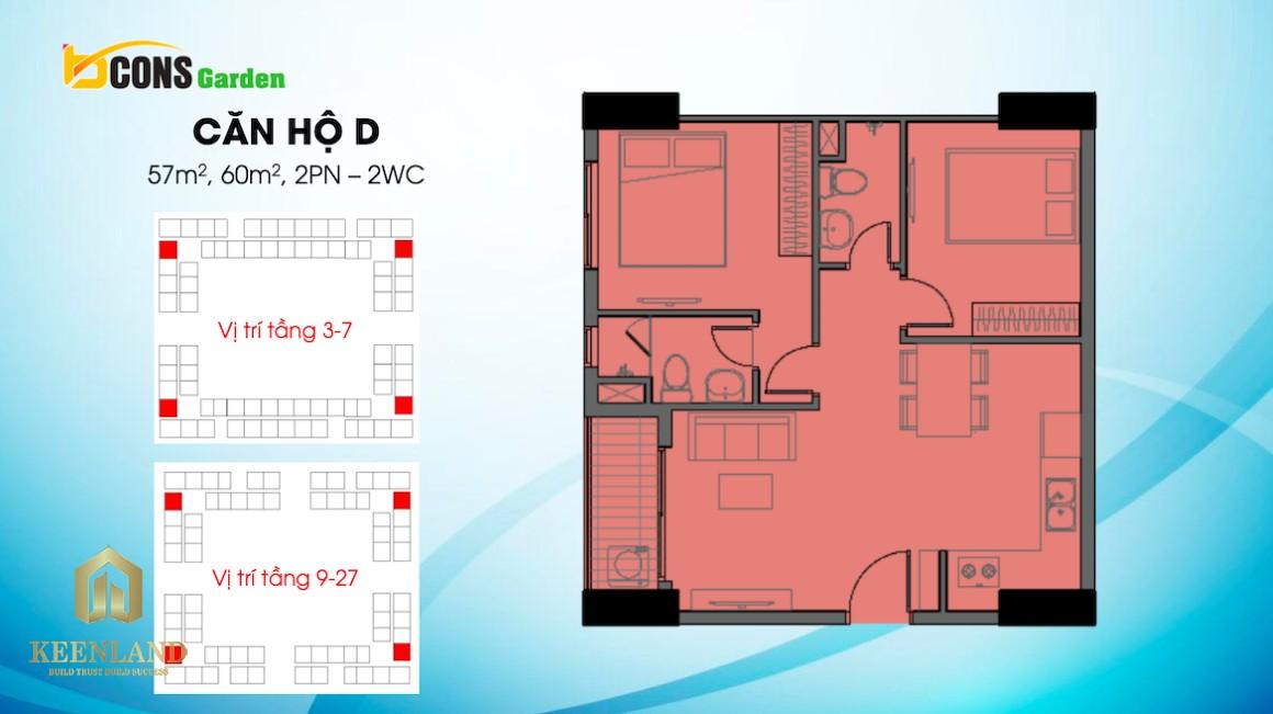 Thiết kế căn hộ D dự án Bcons Garden Bình Dương