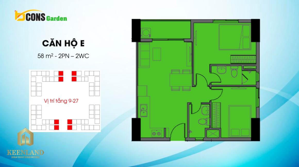 Thiết kế căn hộ E dự án Bcons Garden Bình Dương