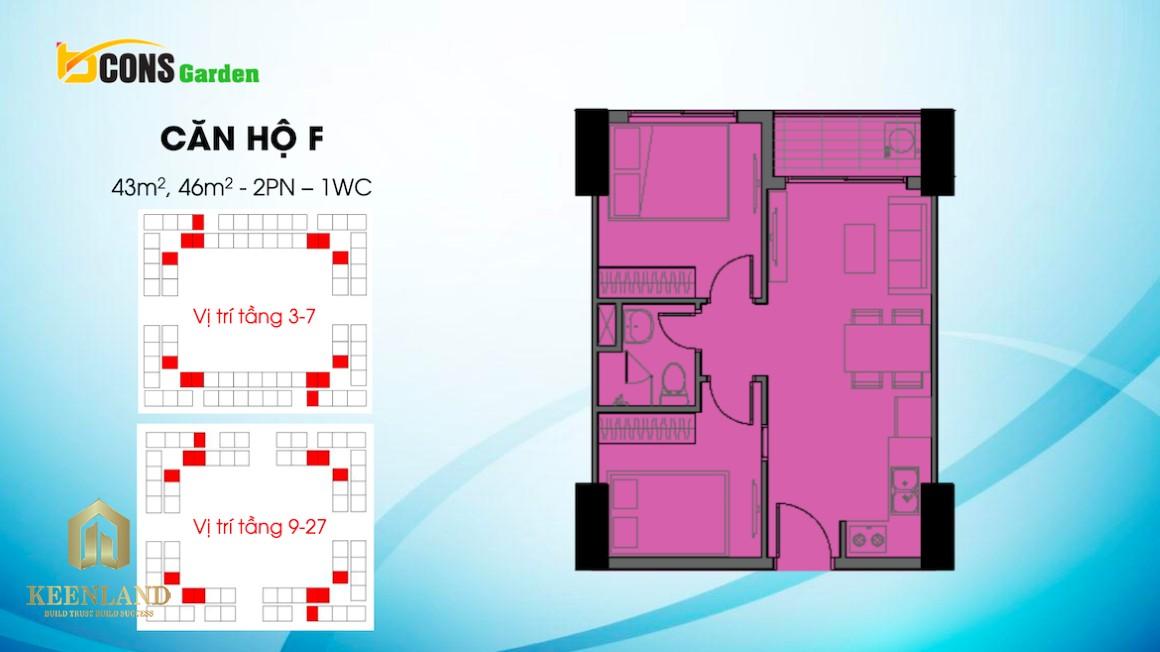 Thiết kế căn hộ F dự án Bcons Garden Bình Dương