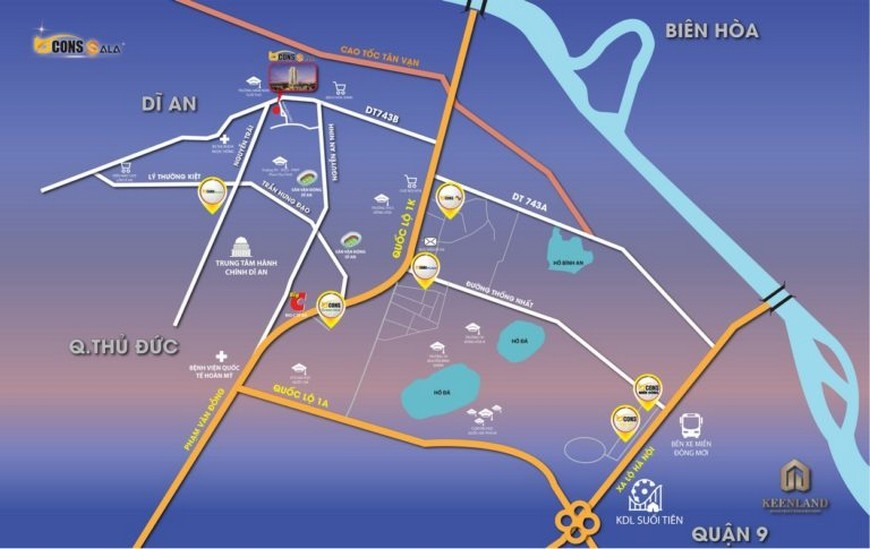 Vị trí dự án căn hộ Bcons Sala Bình Dương
