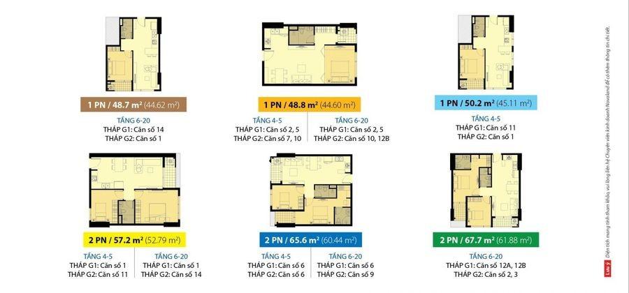 Mặt bằng căn hộ Galaxy 9 1-2 phòng ngủ