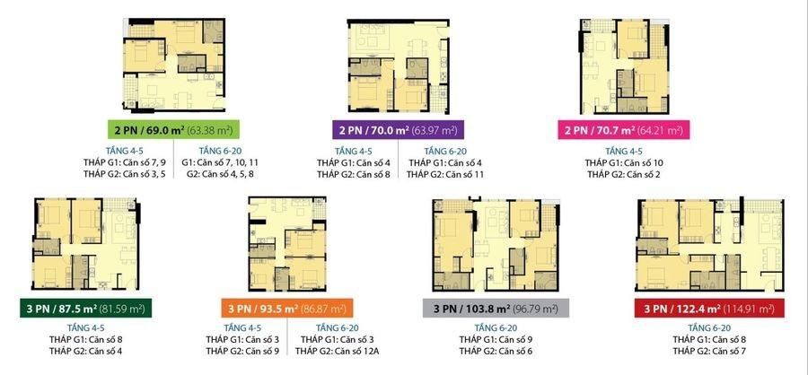 Mặt bằng căn hộ Galaxy 9 2-3 phòng ngủ