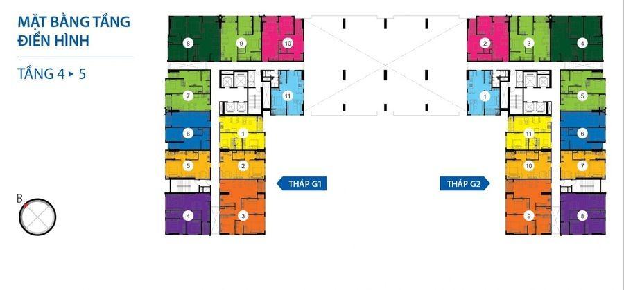 Mặt bằng căn hộ Galaxy 9 tầng 4-5