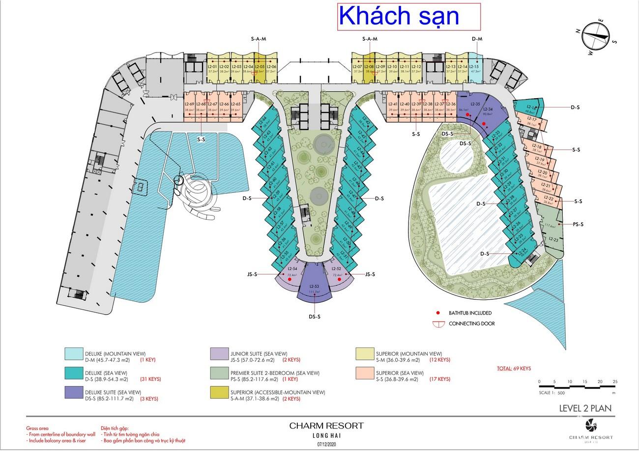 Mặt bằng dự án Condotel & Biệt thự Charm Resort Long Hải chủ đầu tư Charm Group