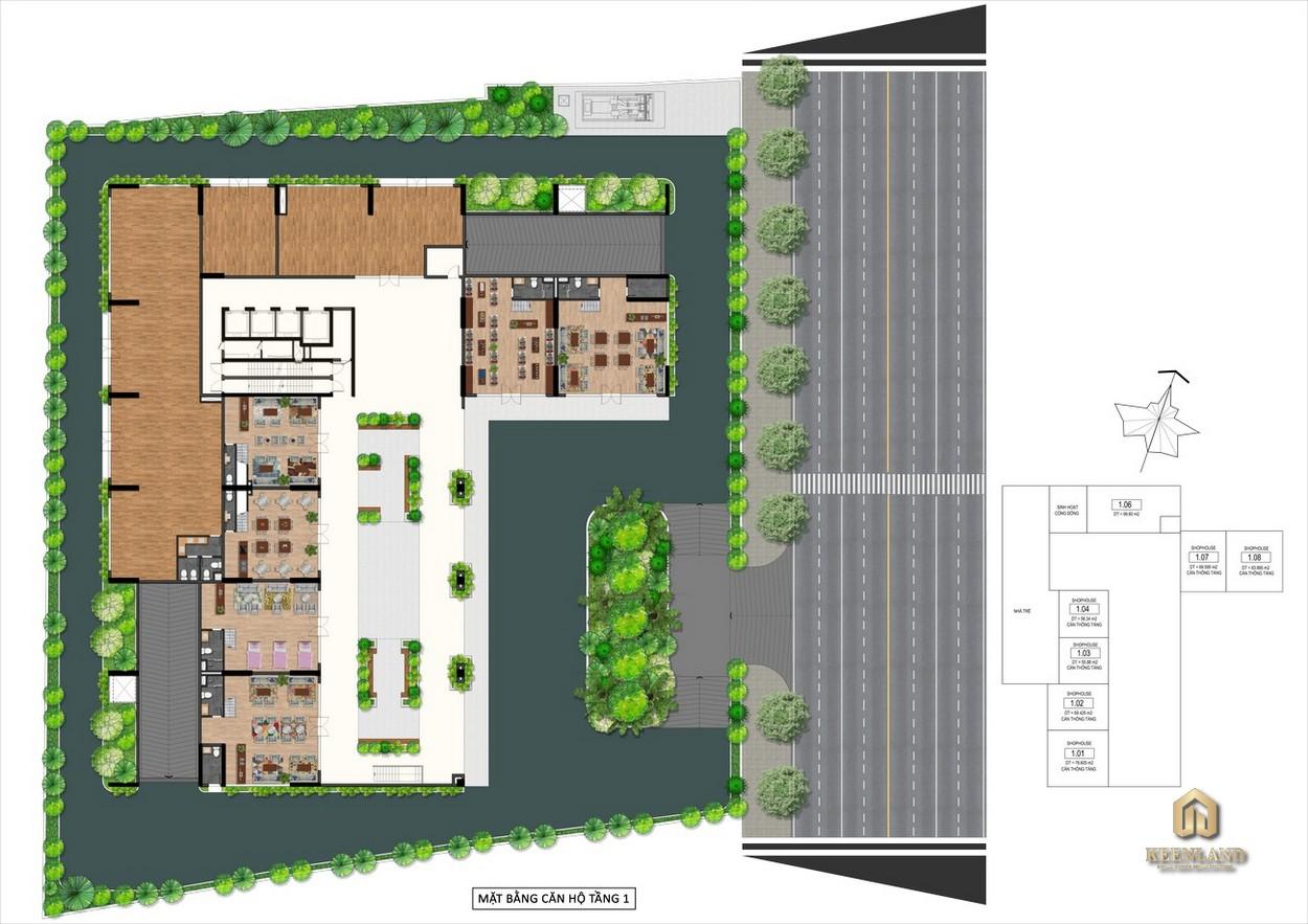 Mặt bằng tổng thể dự án Goldora Plaza Nhà Bè