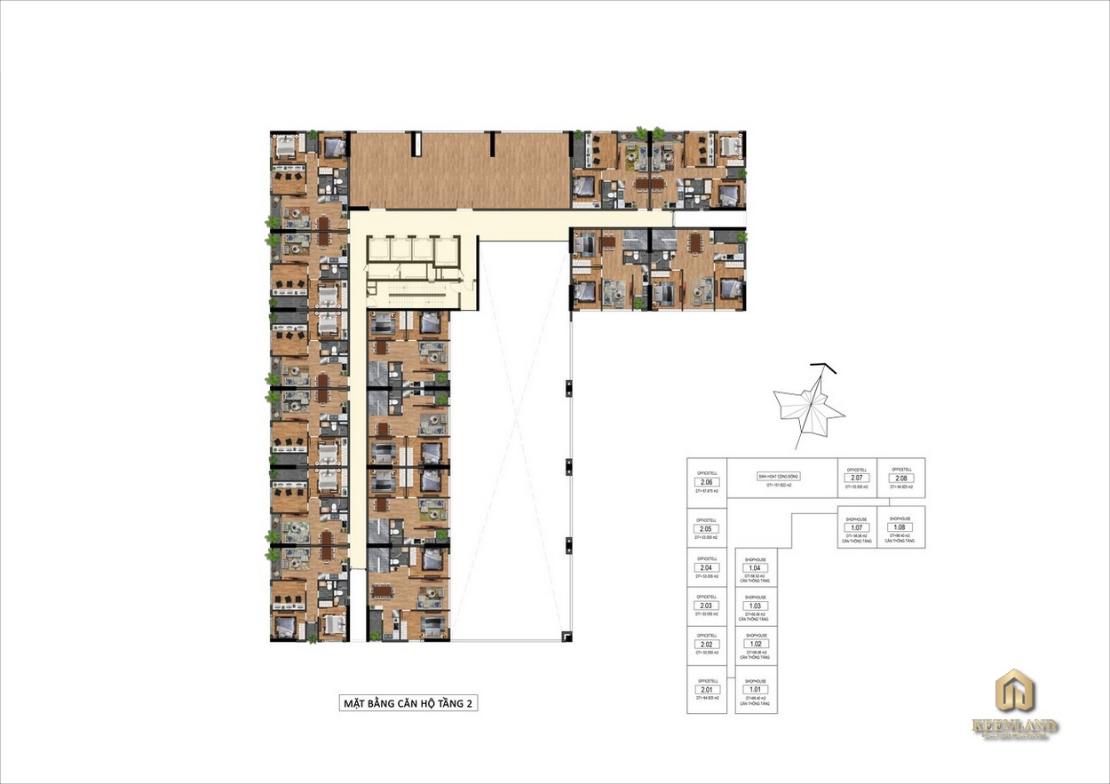 Mặt bằng Tầng 2 Goldora Plaza Nhà Bè