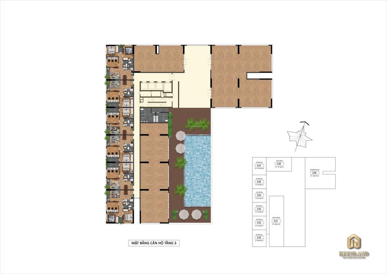 Mặt bằng Tầng 3 Goldora Plaza Nhà Bè