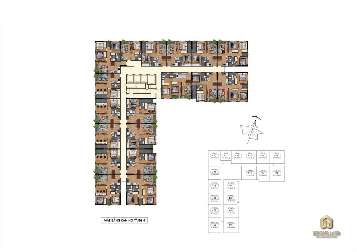 Mặt bằng Tầng 4 Goldora Plaza Nhà Bè