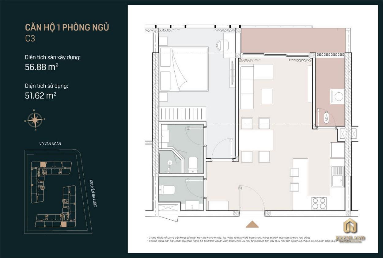 Thiết kế căn hộ King Crown City 1 PN