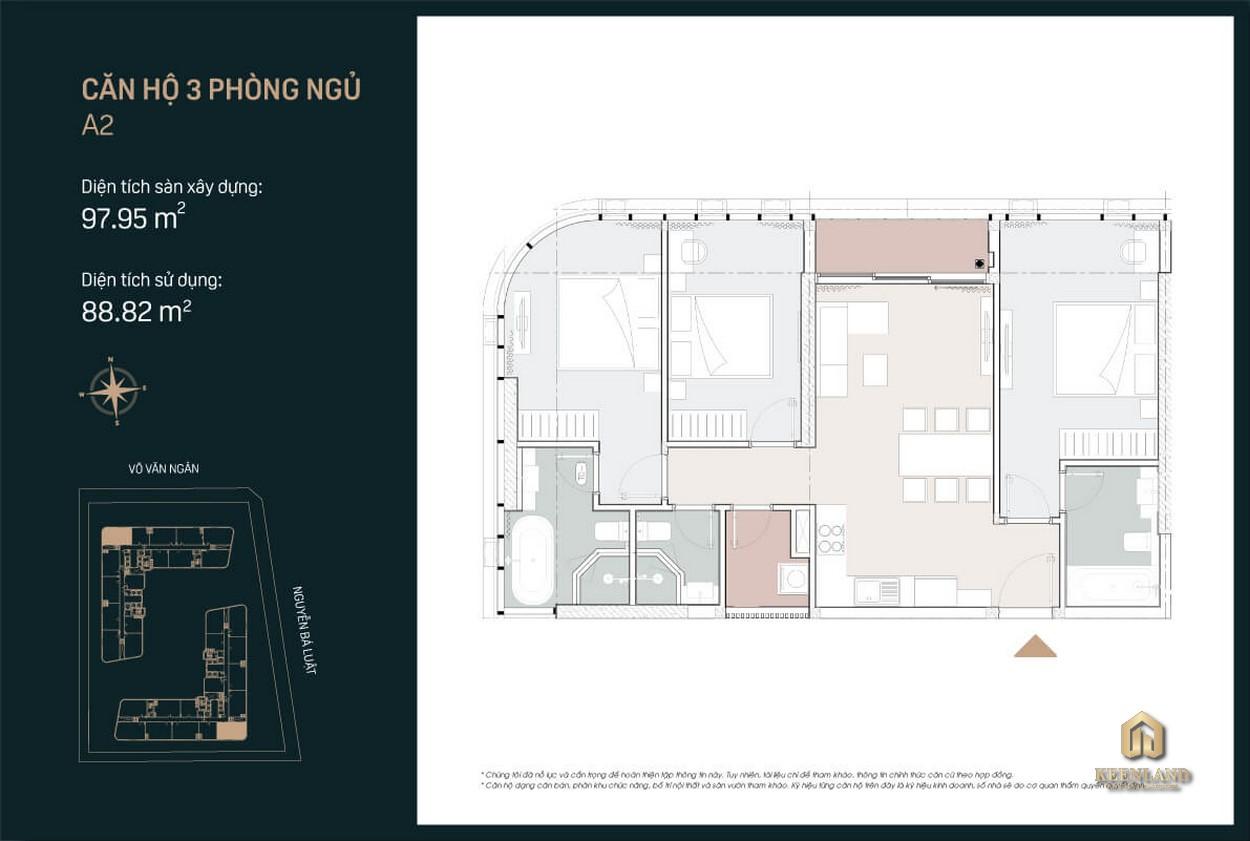 Thiết kế căn hộ A2 King Crown City 3 PN