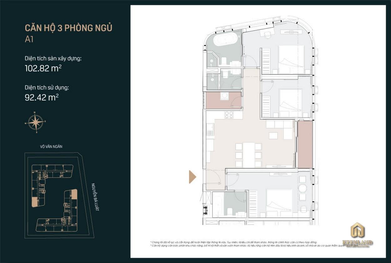 Thiết kế căn hộ A1 King Crown City 3 PN