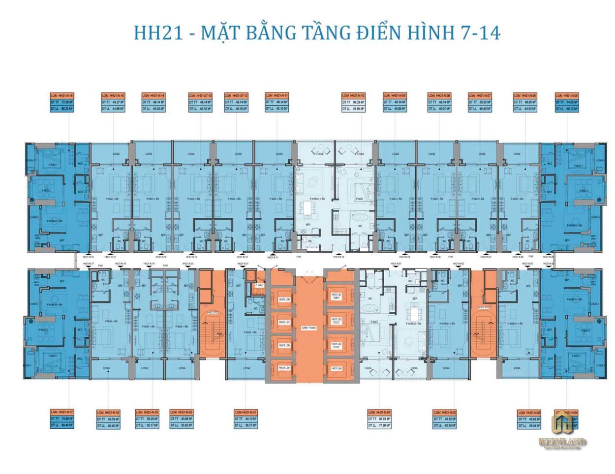 Mặt bằng điển hình tầng 7-14 dự án Takashi Ocean Suite