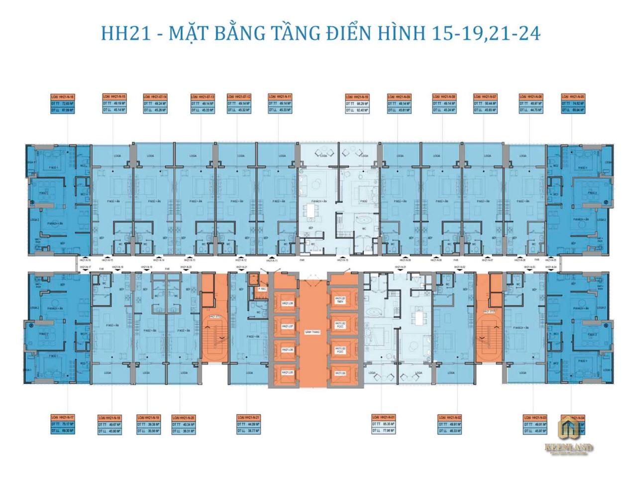 Mặt bằng điển hình tầng dự án Takashi Ocean Suite