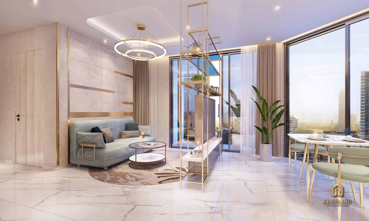Phòng khách nhà mẫu Thảo Điền Green căn 1PN
