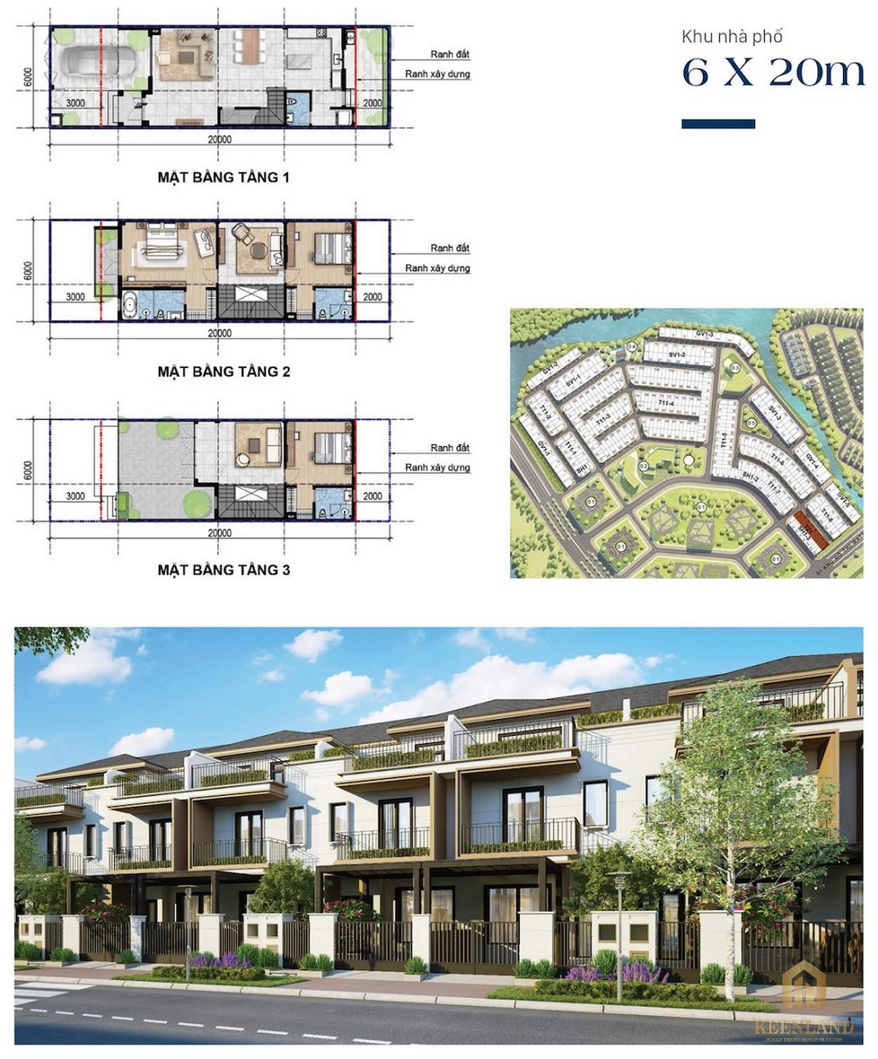 Thiết kế nhà phố 6mx20m Aqua City Novaland