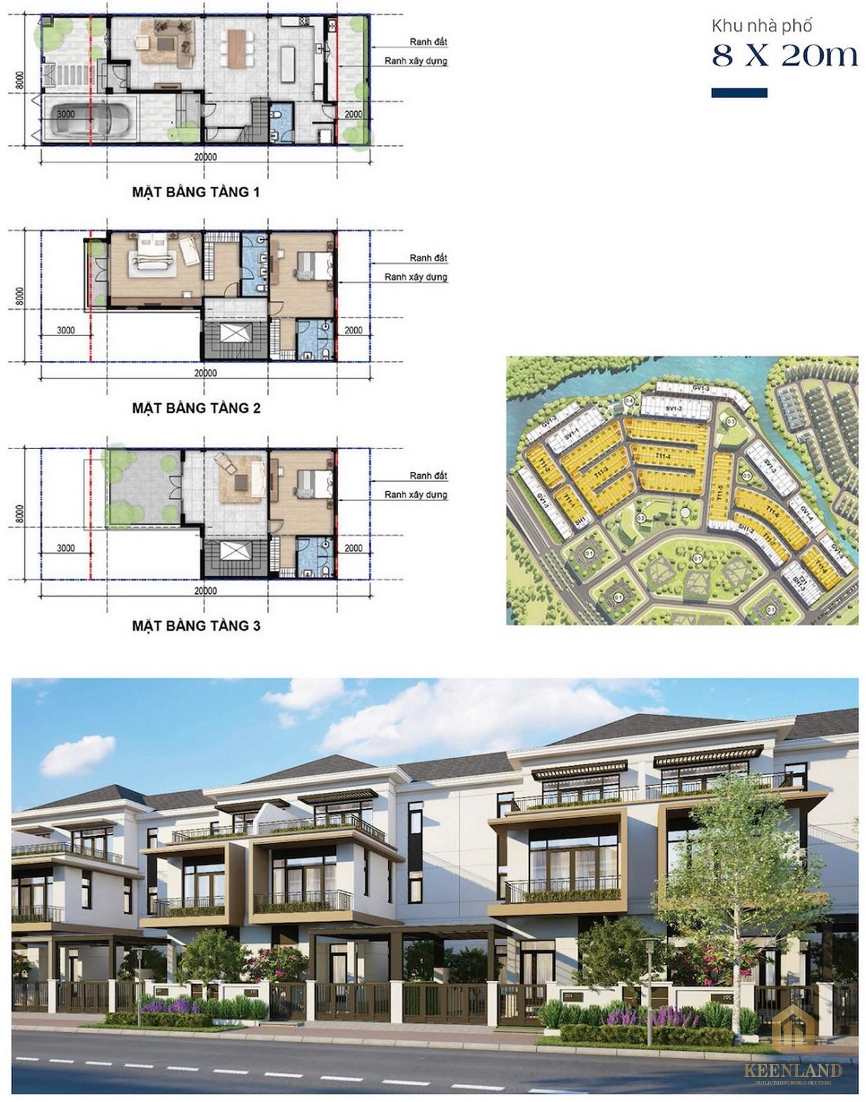 Thiết kế nhà phố 8mx20m Aqua City Novaland