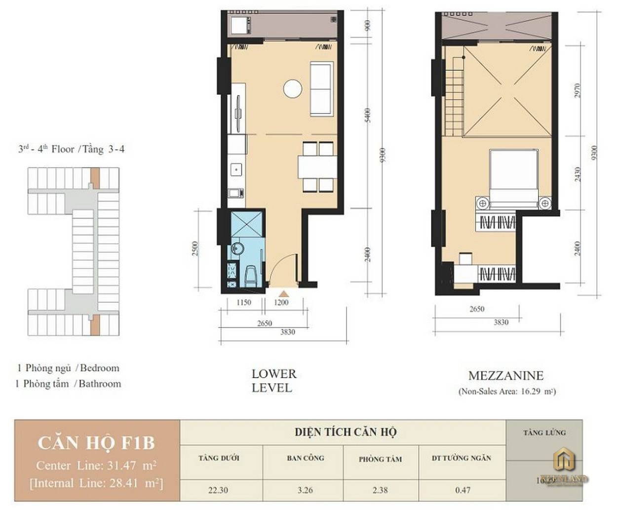 Thiết kế căn hộ F1B