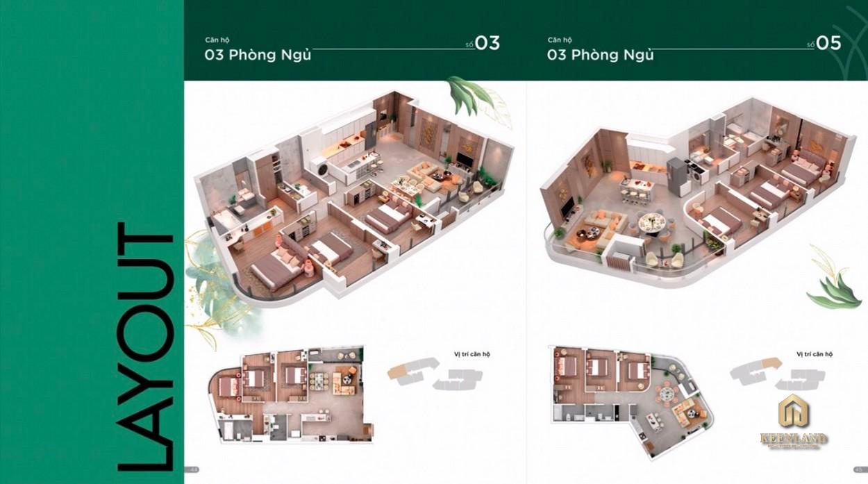 Layout căn hộ Thảo Điền Green 3 Phòng ngủ