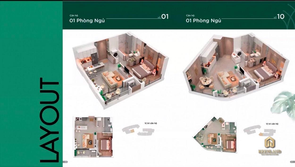Layout căn hộ Thảo Điền Green 1 Phòng ngủ