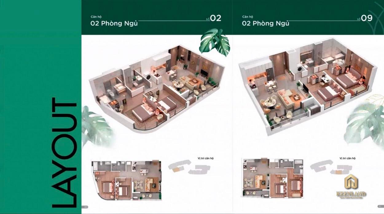 Layout căn hộ Thảo Điền Green 2 Phòng ngủ