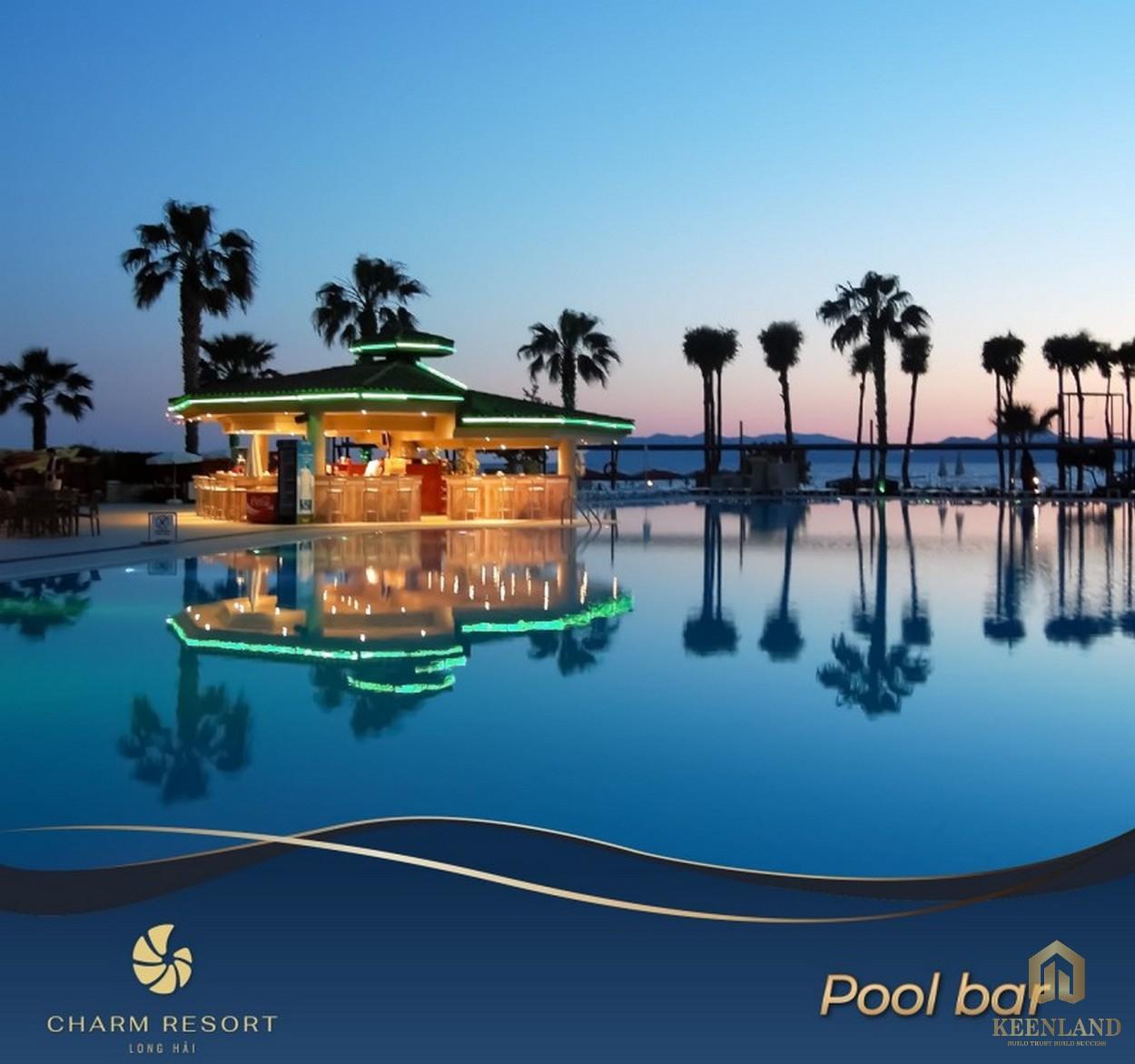 Charm Resort Long Hải - Pool bar về đêm