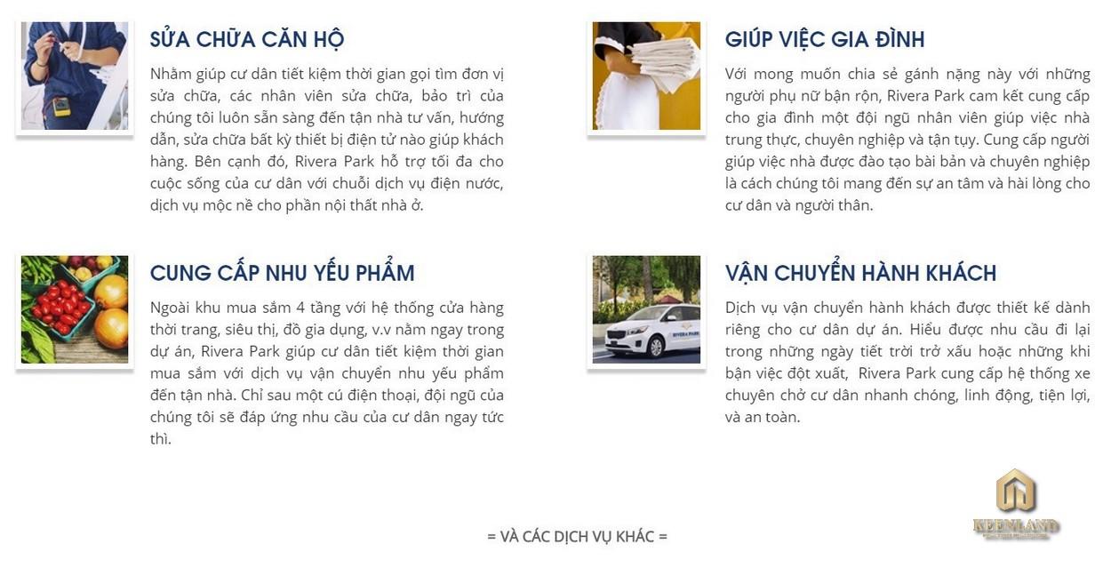 Các dịch vụ ở dự án Rivera Park Sài Gòn