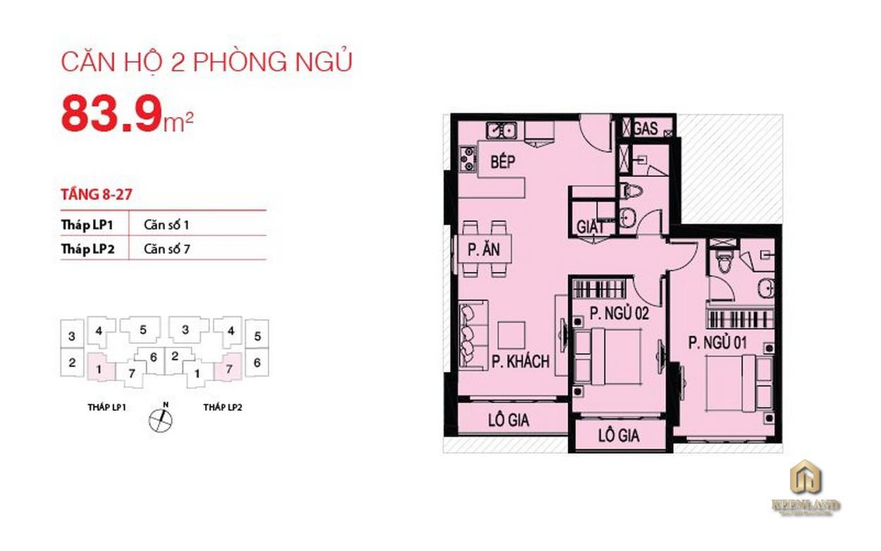 Thiết kế căn hộ điển hình Lucky Palace 2 phòng ngủ
