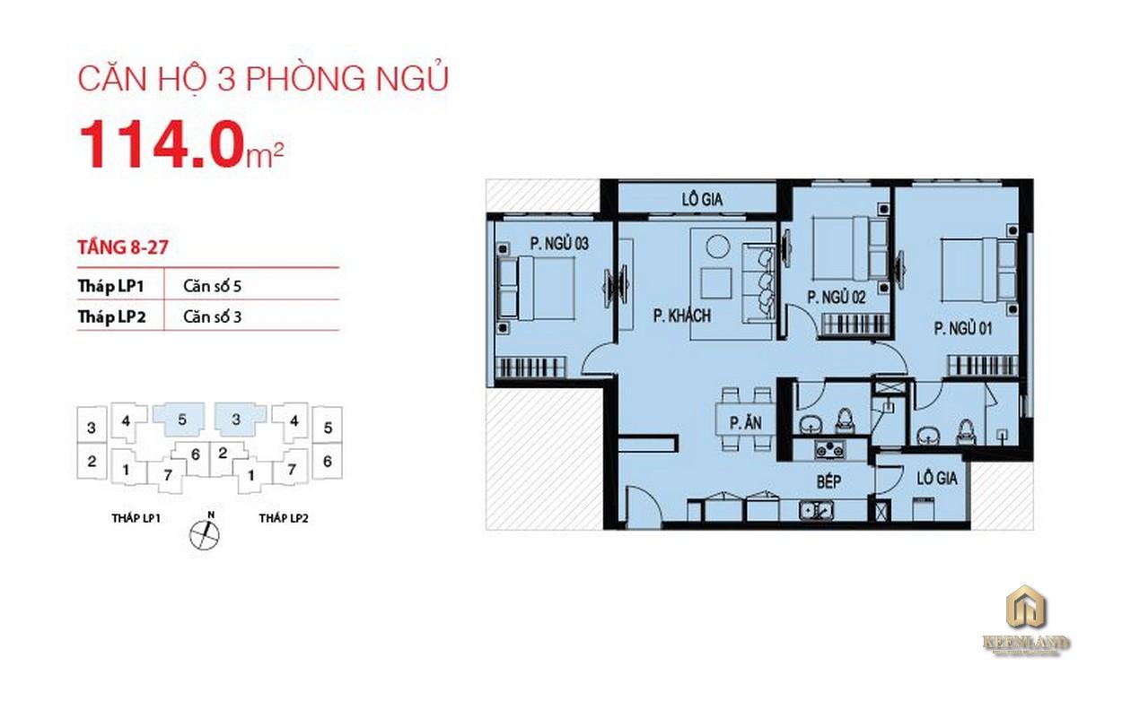 Thiết kế căn hộ điển hình Lucky Palace 3 phòng ngủ