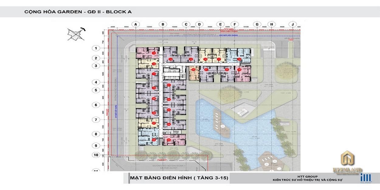 Mặt bằng tầng 3 - 15 Block A dự án Cộng Hòa Garden