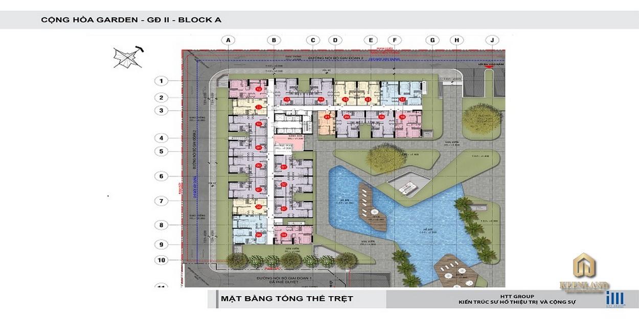 Mặt bằng tầng trệt Block A dự án Cộng Hòa Garden
