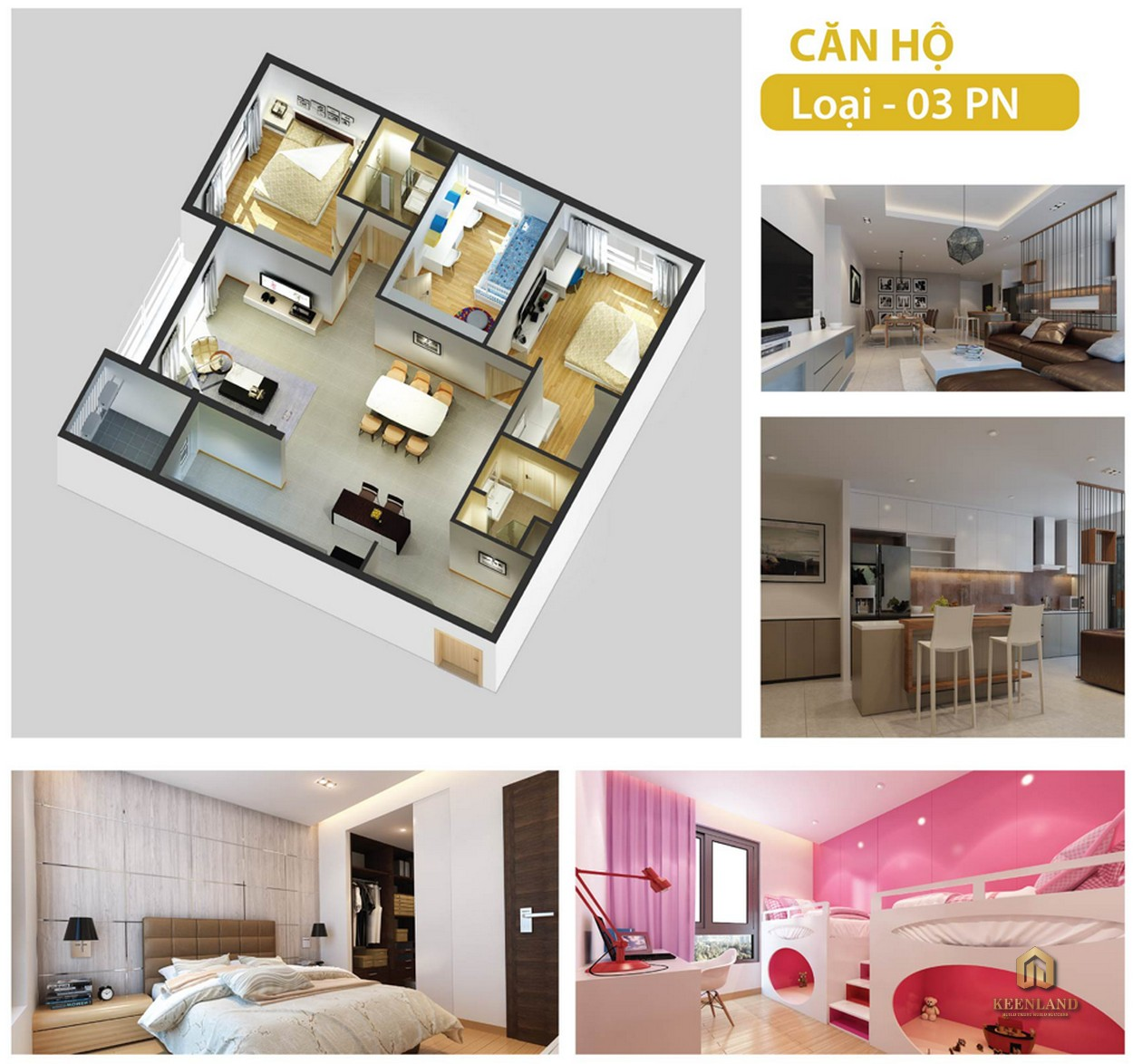 Hình ảnh 3D căn hộ 3 phòng ngủ The Gold View Quận 4