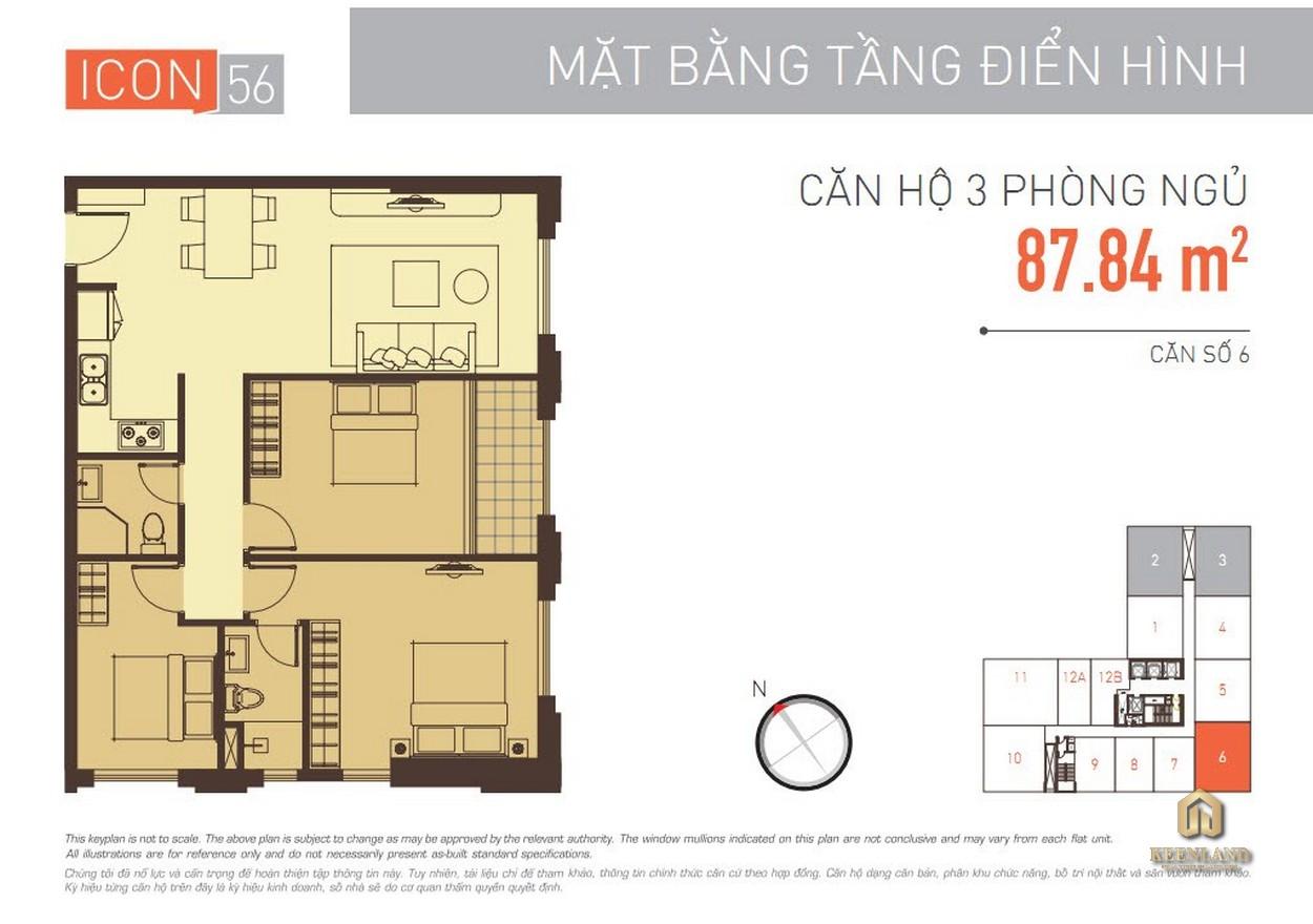 Layout căn hộ 3 phòng ngủ dự án Icon 56