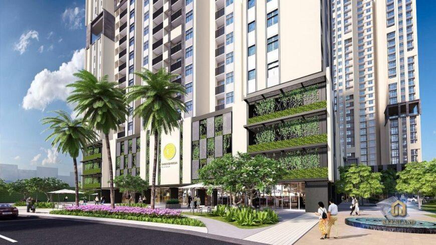 Mảng xanh nội khu chung cư Nguyễn Kim