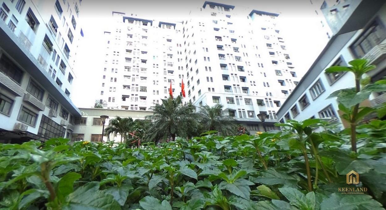 Một góc vườn xanh trước tòa nhà chung cư Tôn Thất Thuyết