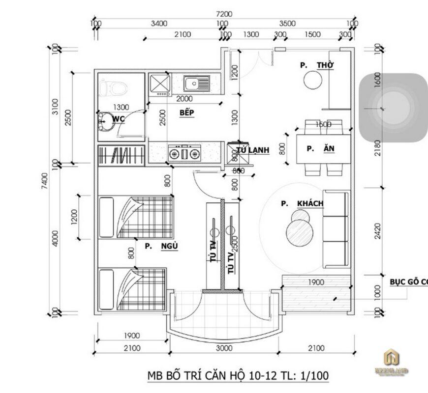 Mặt bằng bố trí căn hộ chung cư Khánh Hội 1
