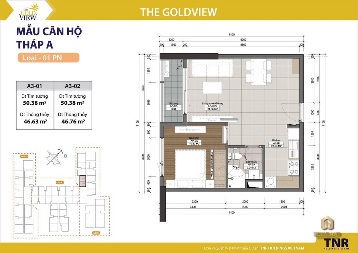 Mặt bằng căn hộ 1 phòng ngủ dự án The Gold View Quận 4