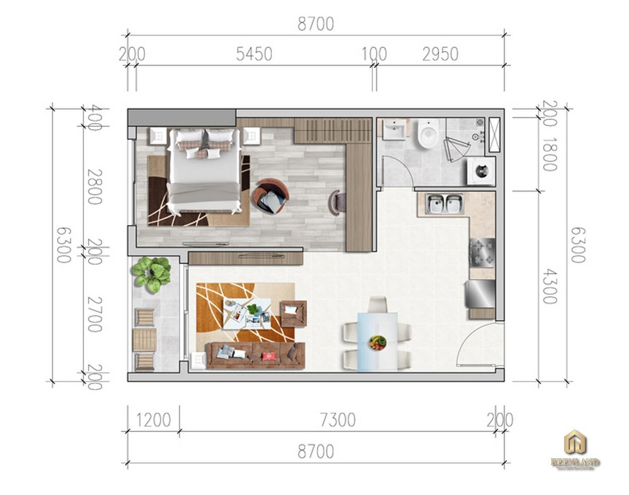 Thiết kế chi tiết căn hộ 1PN Viva Riverside Quận 6
