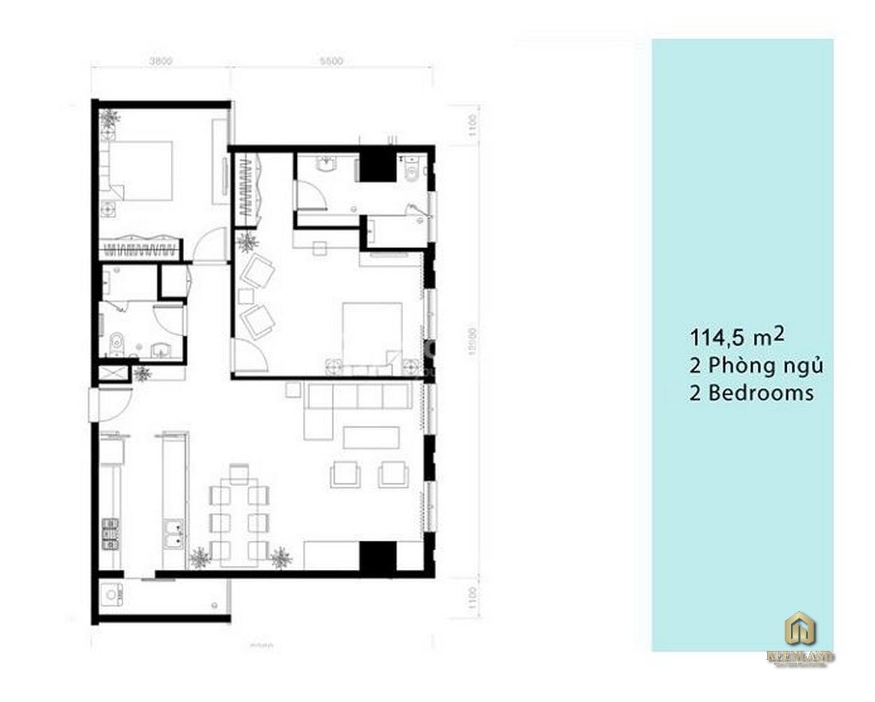 Mặt bằng căn hộ 2 phòng ngủ An Phú Plaza Quận 3