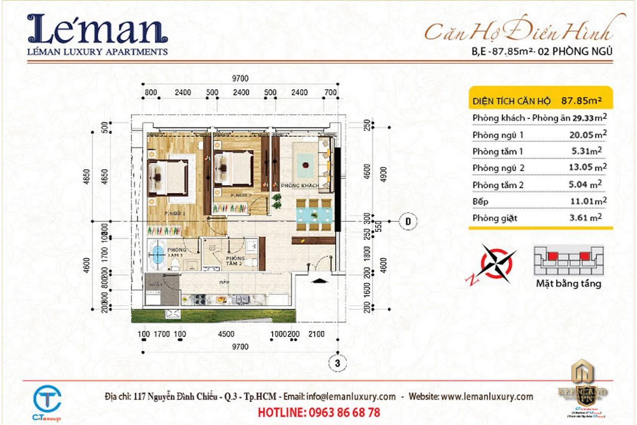 Mặt bằng căn hộ 2 phòng ngủ dự án Léman Luxury Apartment