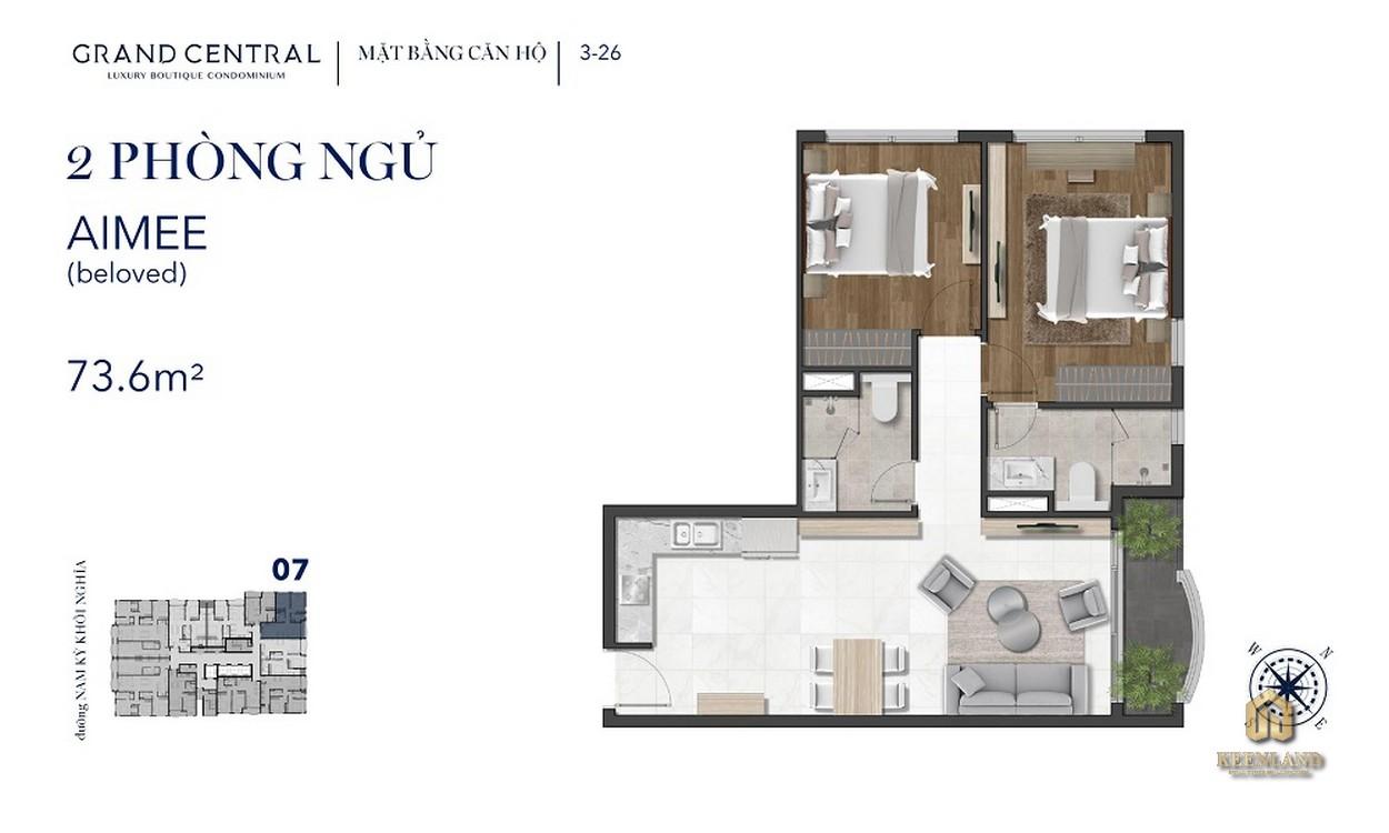 Mặt bằng căn hộ 2 phòng ngủ Grand Central Quận 3
