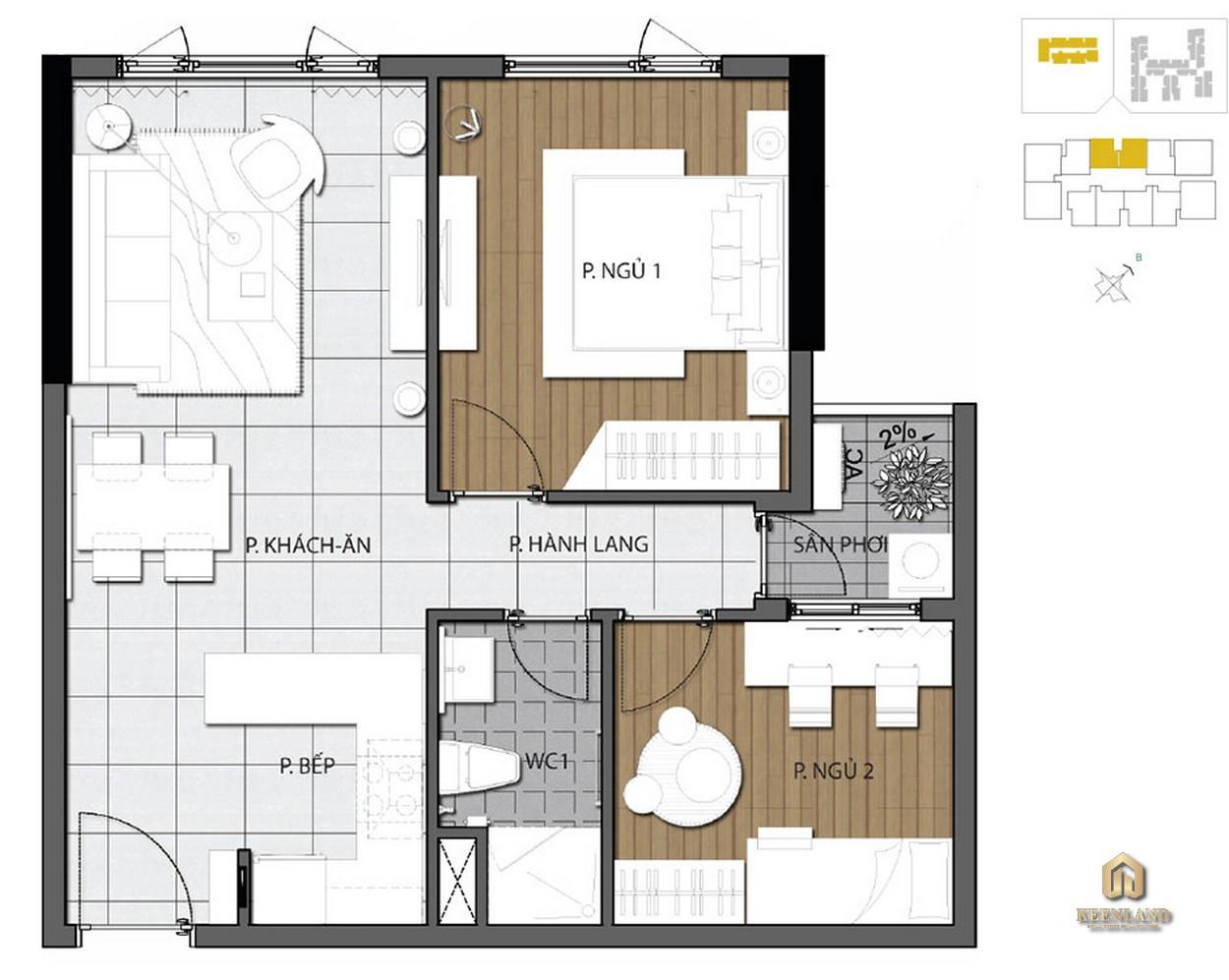 Mặt bằng căn hộ 2 phòng ngủ dự án The Gold View Quận 4