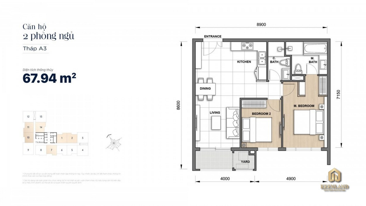 Thiết kế chi tiết căn hộ 2 phòng ngủ The Grand Manhattan
