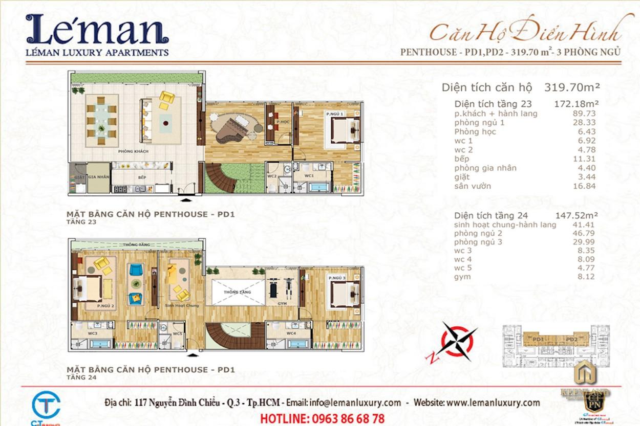 Mặt bằng căn hộ 3 phòng ngủ dự án Léman Luxury Apartment