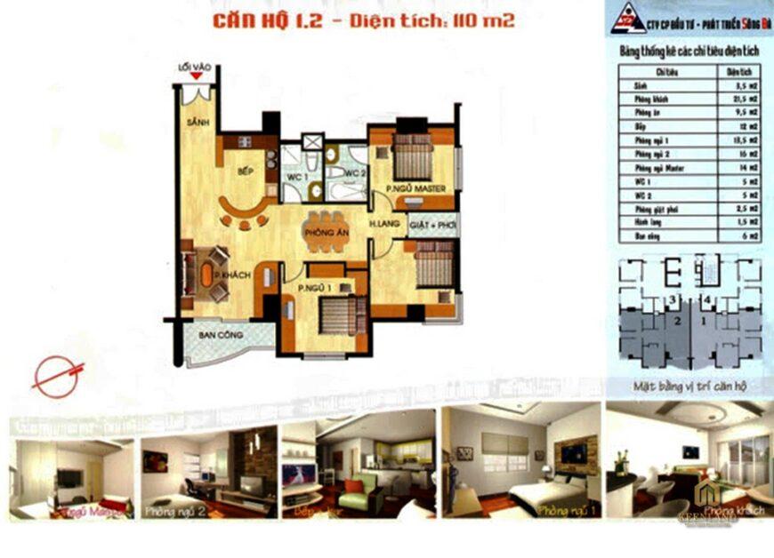 Mặt bằng căn hộ 3 phòng ngủ tại Sông Đà Tower