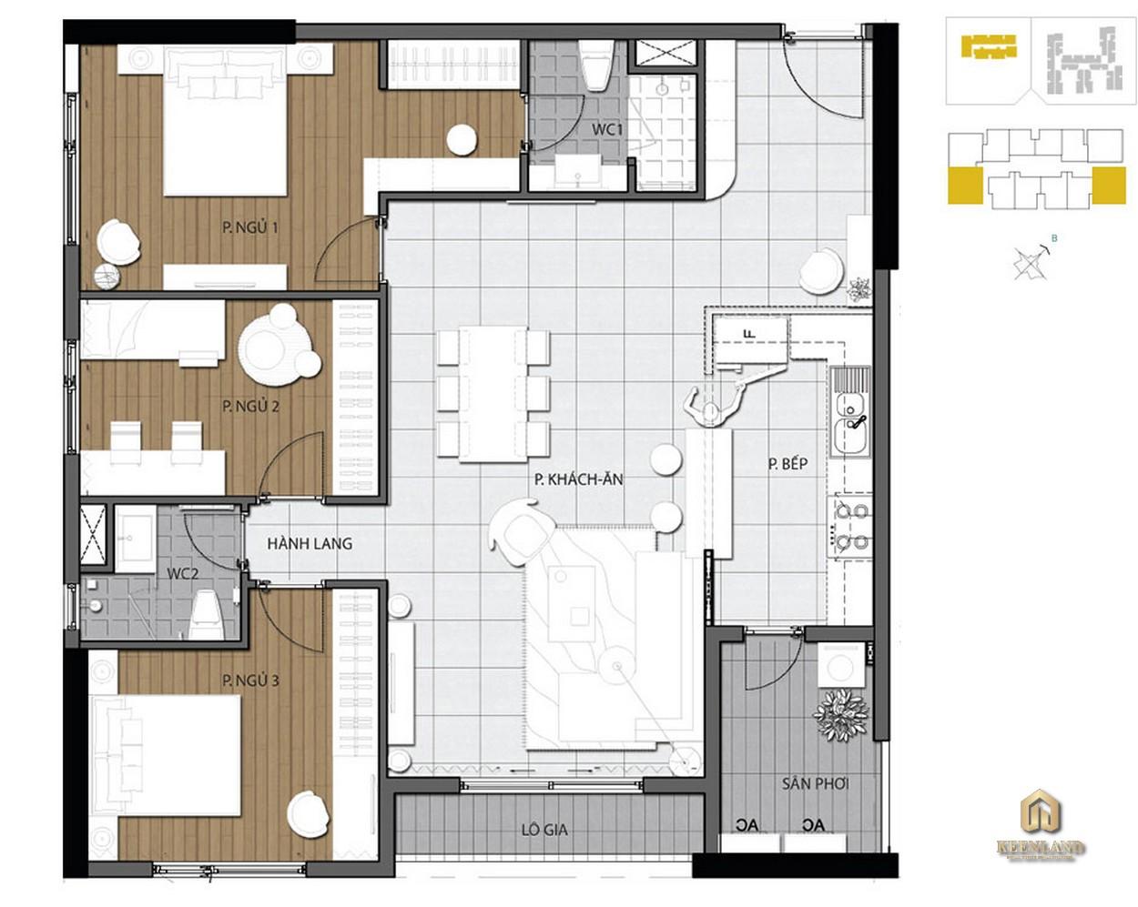 Mặt bằng căn hộ 3 phòng ngủ dự án The Gold View Quận 4