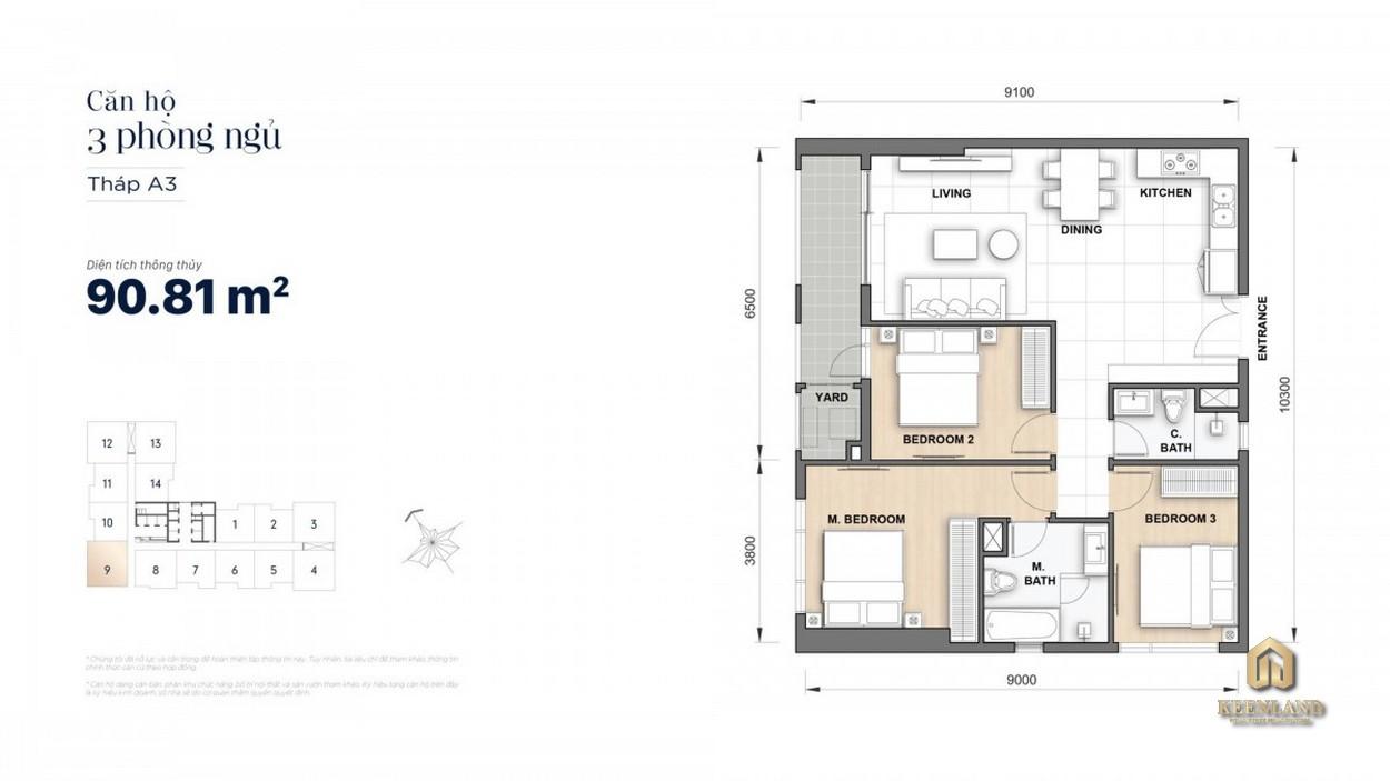 Thiết kế chi tiết căn hộ 3 phòng ngủ The Grand Manhattan
