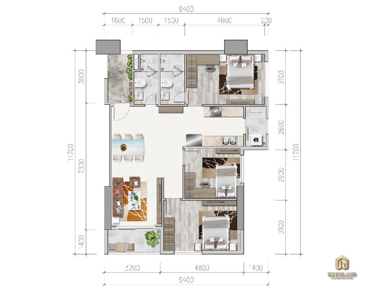 Thiết kế chi tiết căn hộ 3PN Viva Riverside Quận 6