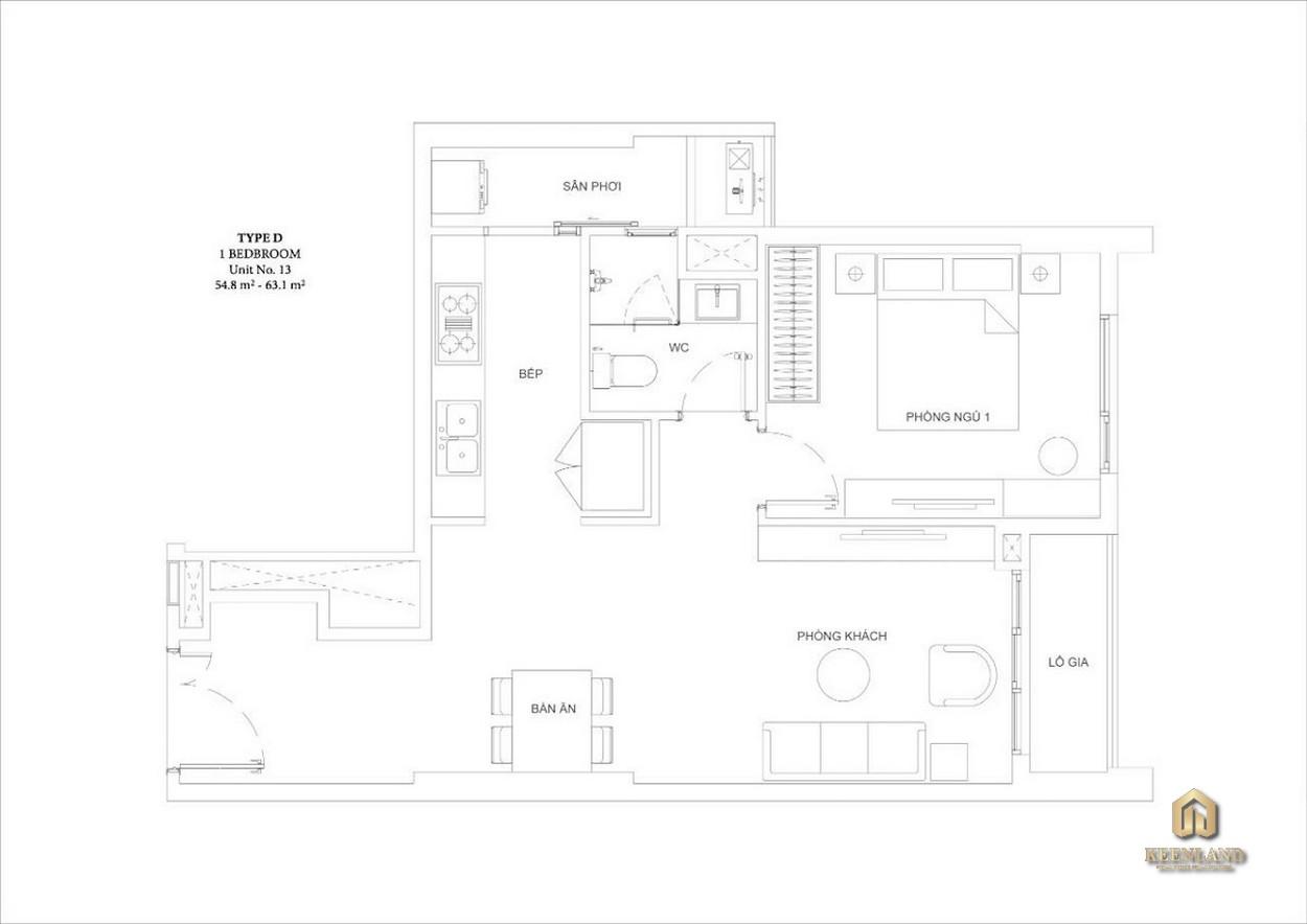 Mặt bằng căn hộ Ascent Garden Homes 1 phòng ngủ